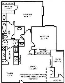 850 sq. ft. B-1 floor plan