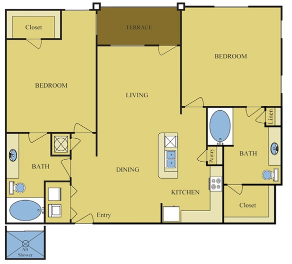 1,228 sq. ft. CEDAR floor plan