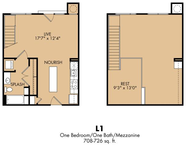 708 sq. ft. L1x floor plan