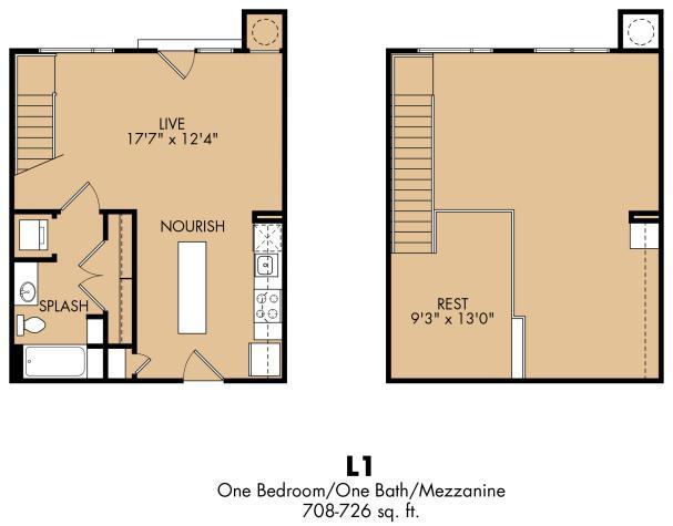 708 sq. ft. A6x floor plan