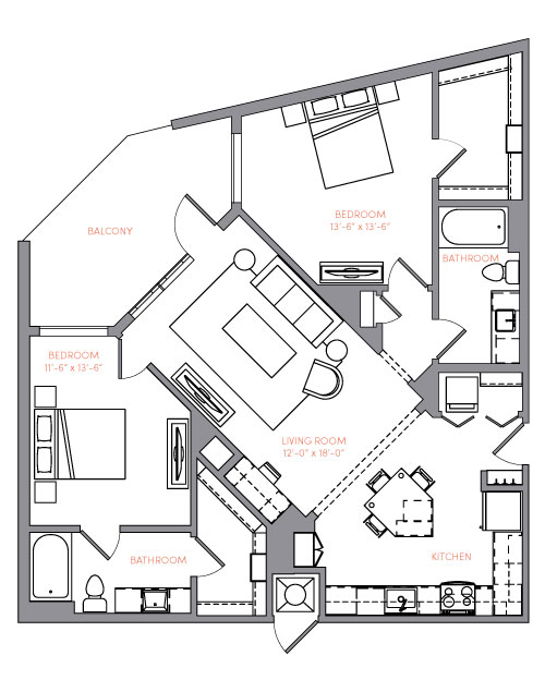 1,167 sq. ft. B3B floor plan