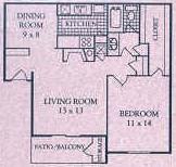 730 sq. ft. C floor plan