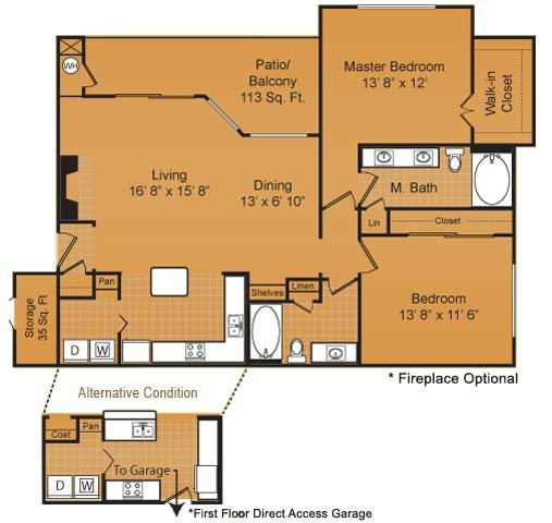 1,165 sq. ft. B3 floor plan