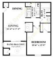 640 sq. ft. A2 floor plan