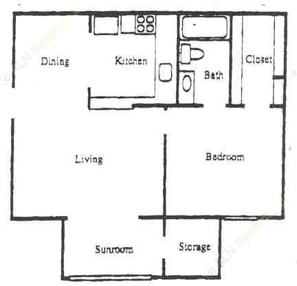 666 sq. ft. A2 floor plan