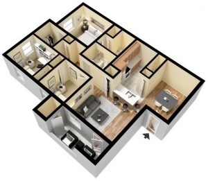 1,100 sq. ft. 60% floor plan