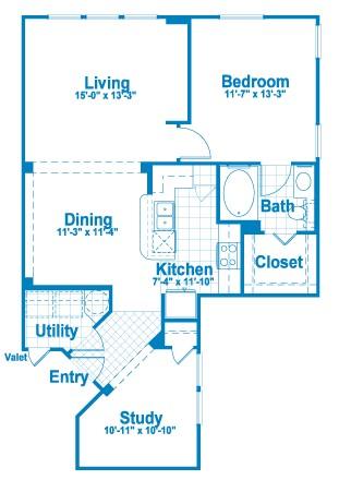 926 sq. ft. A5 floor plan