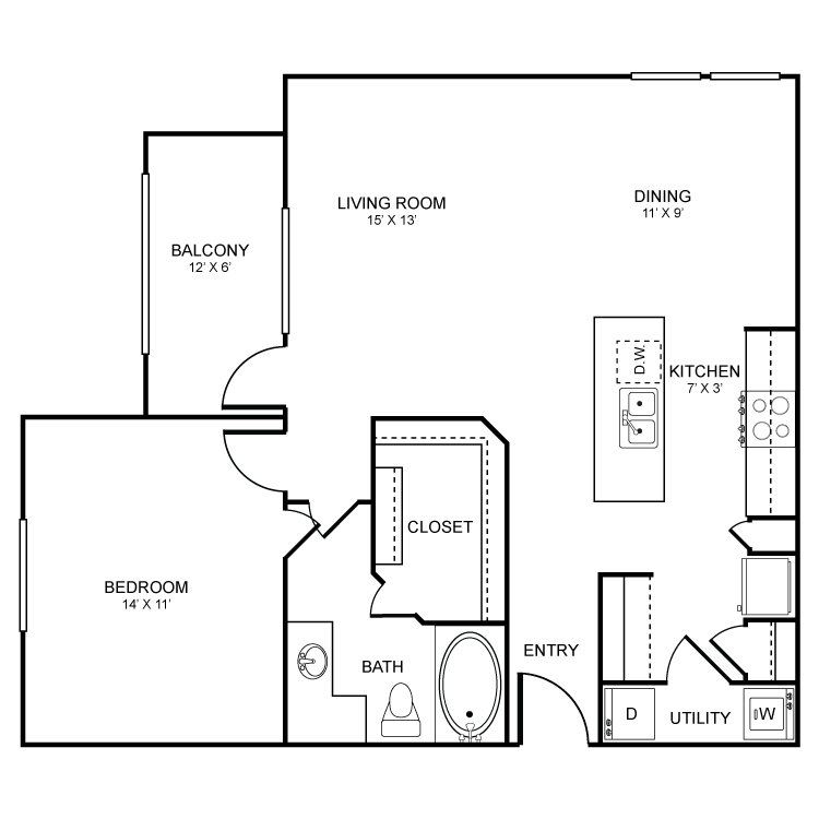 831 sq. ft. Belmont floor plan