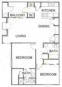 982 sq. ft. B3 floor plan