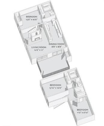 1,155 sq. ft. C floor plan