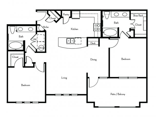 1,165 sq. ft. B3 floor plan