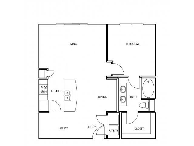 874 sq. ft. A8 floor plan