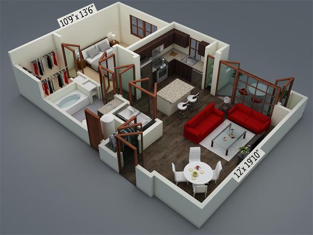726 sq. ft. A3 floor plan