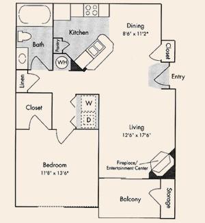 777 sq. ft. A3 floor plan