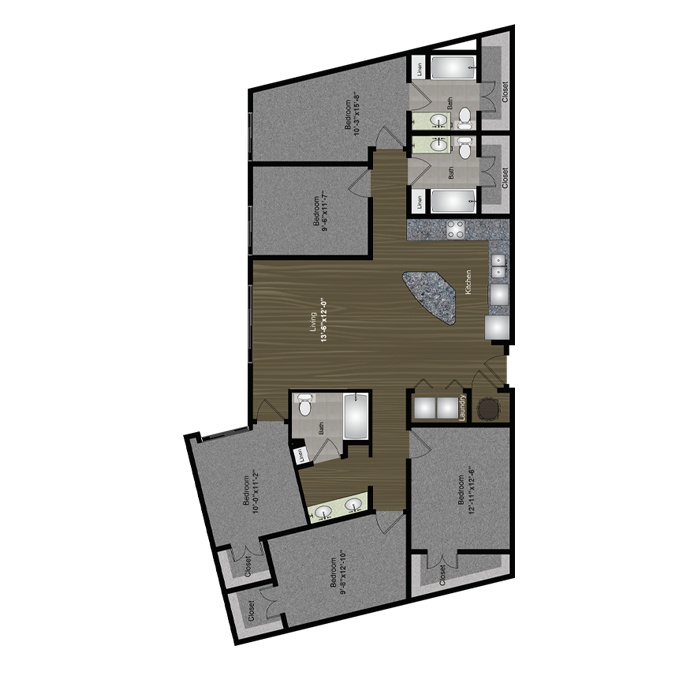 1,740 sq. ft. Sixth Street floor plan