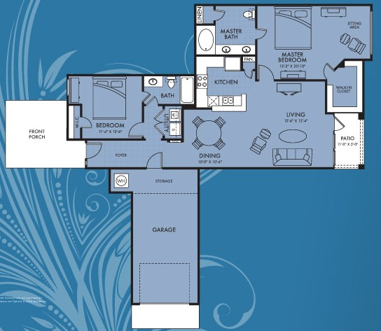 1,260 sq. ft. Asteria floor plan