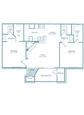 865 sq. ft. B1 floor plan