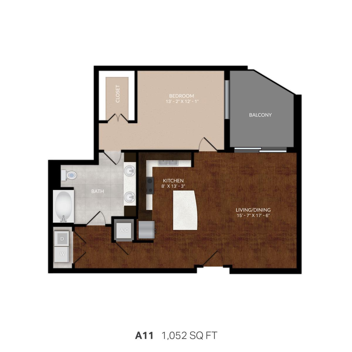 945 sq. ft. A11 floor plan