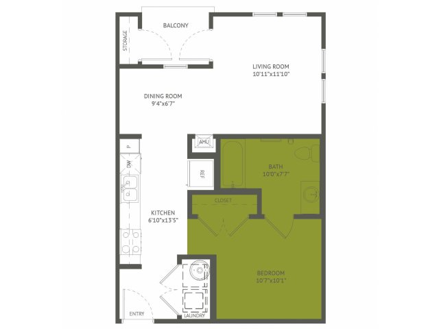 600 sq. ft. Balcones/50% floor plan