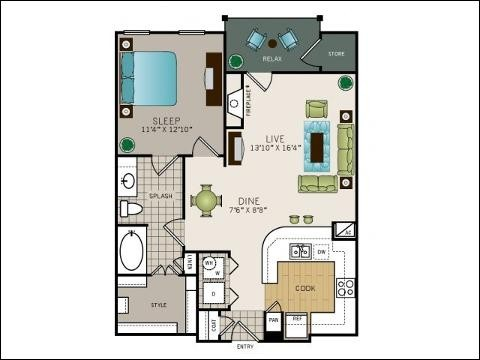 867 sq. ft. A4M floor plan
