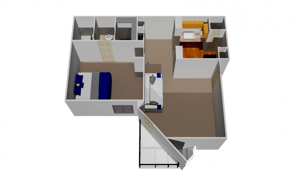 727 sq. ft. A5 floor plan