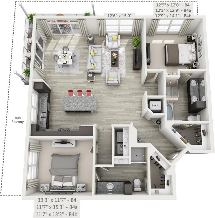 1,415 sq. ft. B4 floor plan