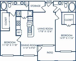 1,183 sq. ft. II/B2/B2C floor plan