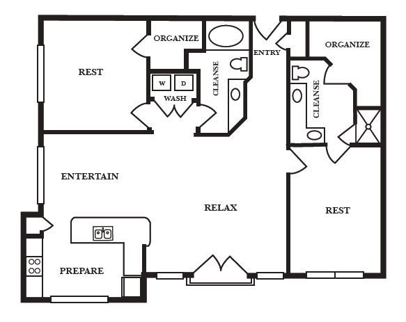 1,237 sq. ft. E floor plan