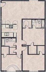 1,200 sq. ft. E floor plan