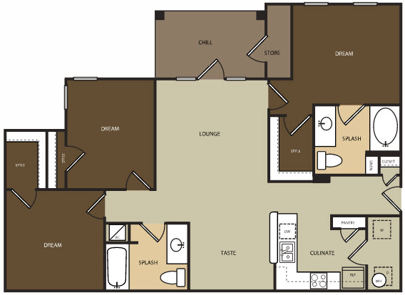 1,227 sq. ft. C1H floor plan