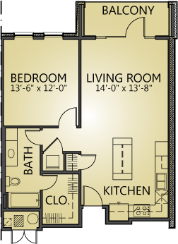 799 sq. ft. A1 floor plan