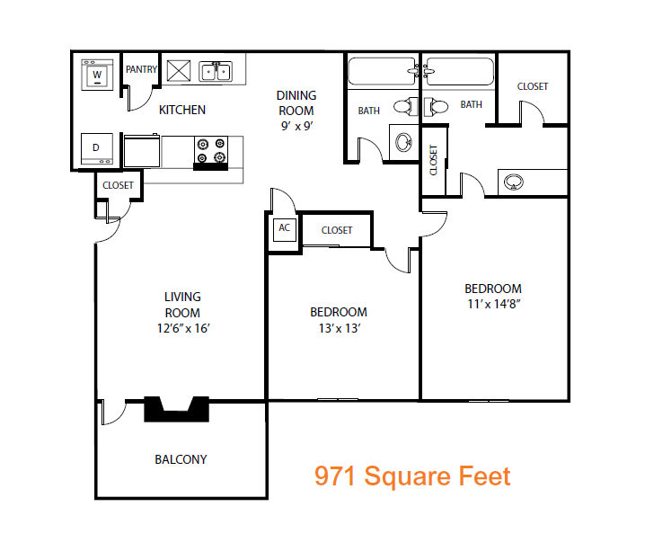 971 sq. ft. Maple floor plan