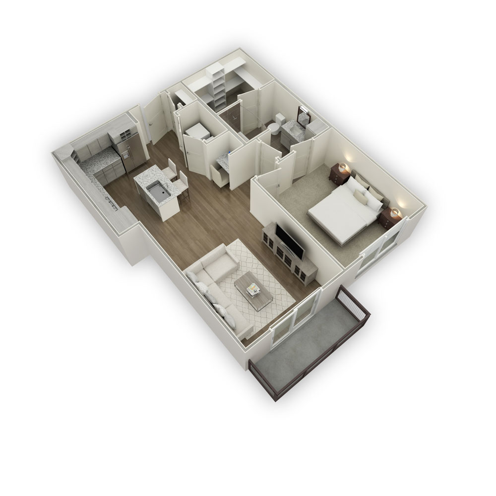 791 sq. ft. A5 floor plan