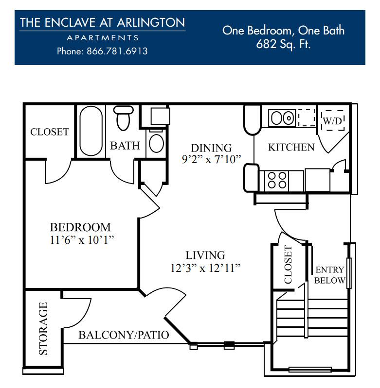 682 sq. ft. C floor plan