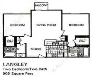909 sq. ft. Riverside floor plan