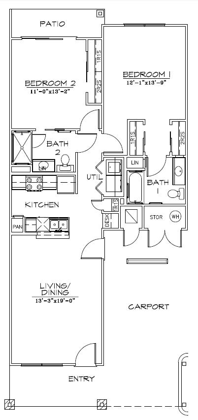 1,047 sq. ft. 60% floor plan
