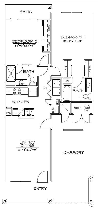 1,047 sq. ft. 60% floor plan