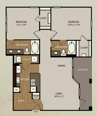 1,064 sq. ft. B1 floor plan