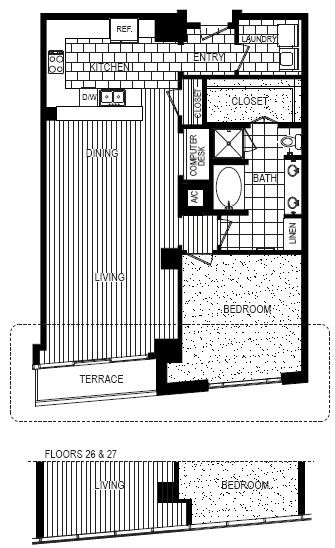 1,196 sq. ft. C floor plan