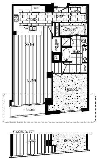 1,196 sq. ft. C floor plan