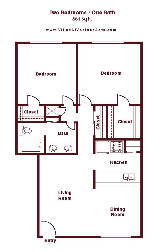 680 sq. ft. to 720 sq. ft. floor plan