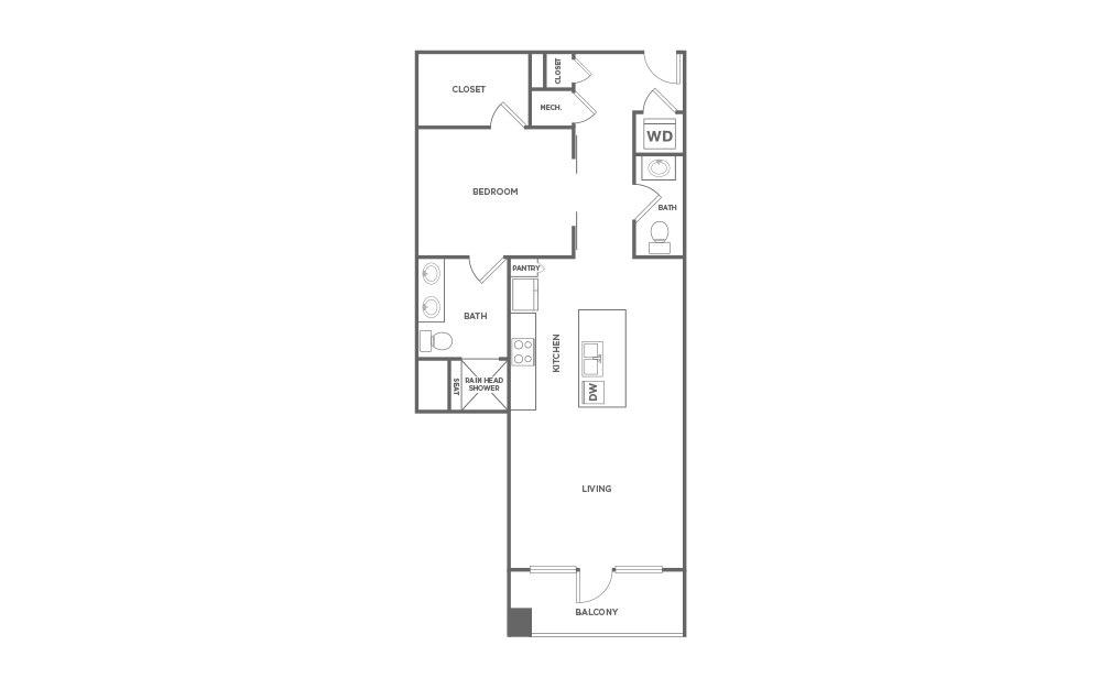 1,010 sq. ft. EA1.32 floor plan