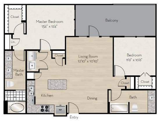 1,130 sq. ft. B3 floor plan