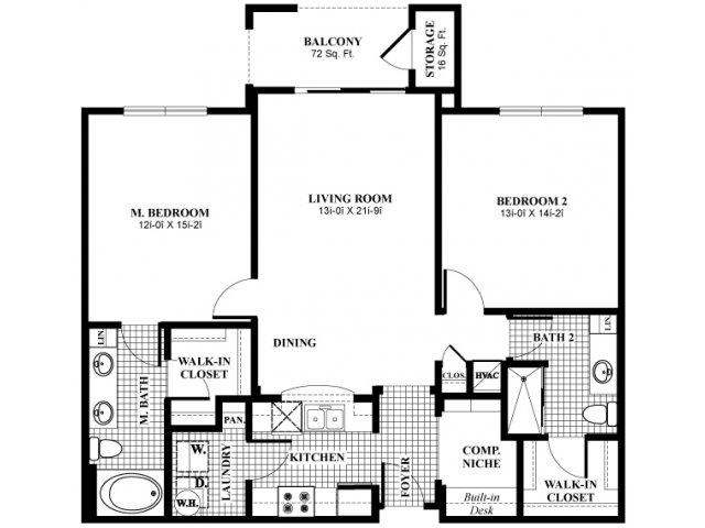 1,201 sq. ft. B21 floor plan