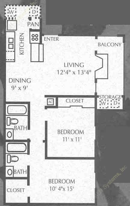 829 sq. ft. B1/B2 floor plan