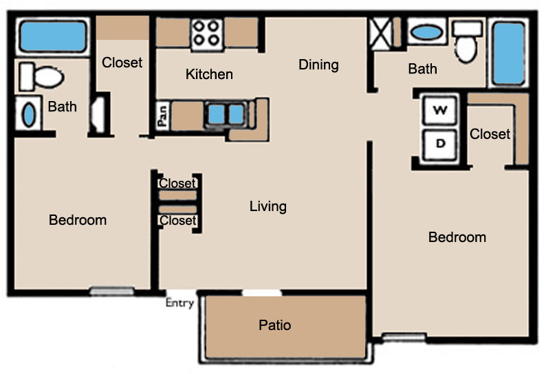 950 sq. ft. D1 floor plan