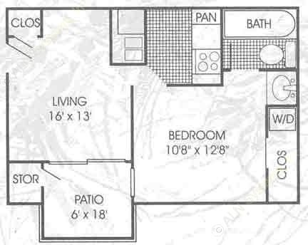480 sq. ft. A1 floor plan