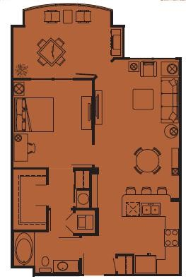 804 sq. ft. B floor plan