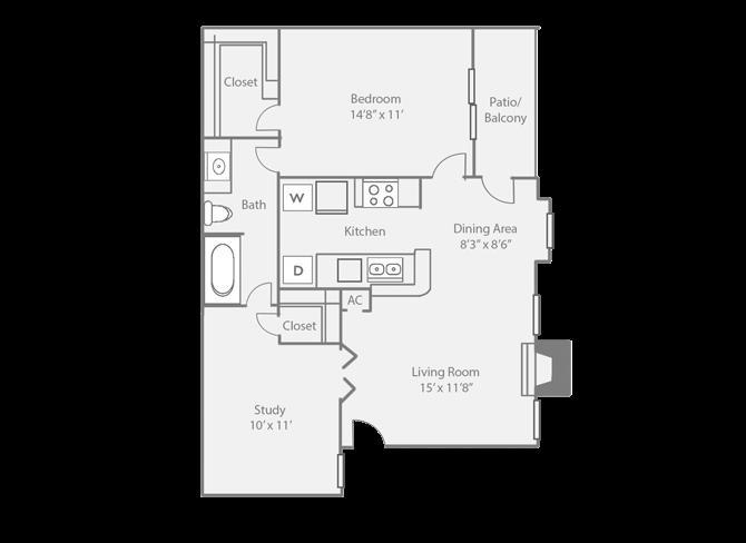 817 sq. ft. C floor plan