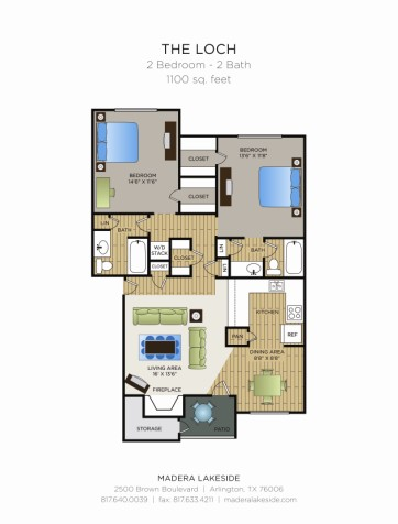 1,100 sq. ft. D2 floor plan